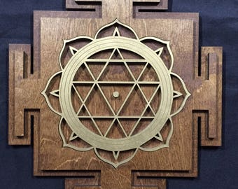 """Durga Yantra 17.5"""" - Brown and Gold with Brown Base - Radiant Hearts Item #020113"""