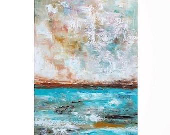 "Ocean art Oil painting Ocean painting Abstract ocean Vertical art Modern abstract Abstract ocean art Abstract wall art Seascape art 18X24"""