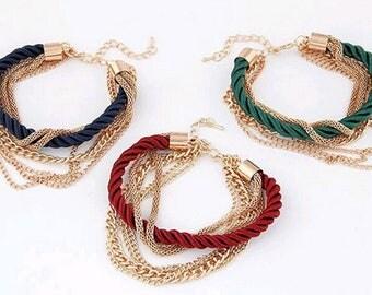 Rope chain bracelet/bracelet for girl/ gold rope bracelet/gold chain bracelet/chain bracelet/chain&link bracelet/chain bracelet women