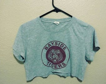Bayside Tigers crop top upcycled t-shirt cut in shop medium