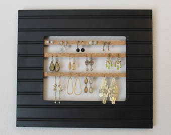 Black Jewelry Holder Frame | Hanging Earring Organizer | Hanging Earring Holder | Wall Hanging Jewelry Display | Wall Mount Earring Holder
