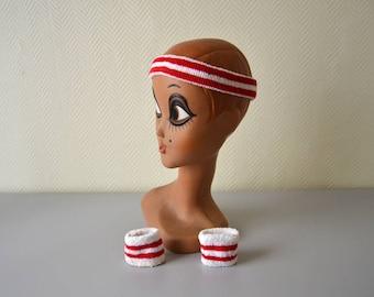 Vintage tennis headband forehead and wristband / Old School Tennis Skateboard Sweat Wristband / 70s