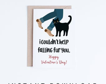 Funny Valentine Printables, Valentine's Day Black Cat Card, Funny Cat Valentine Instant Download, Cheeky Cat Cards, Cat Lovers, Contemporary