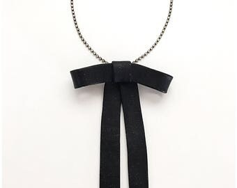 Black bow pendant necklace - handmade with polymer clay, hung on rhinestone necklace