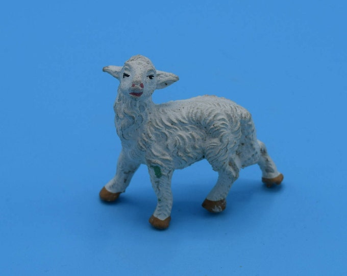 Featured listing image: Chalkware Italy Lamb Figurine Vintage White Plaster Sheep Figure Nativity Animal Replacement Easter Decoration Figurine Gift for Her