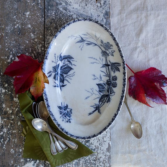 French Ironstone Blackberry Serving Platter