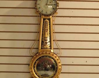 23940EC: ELMER STENNES Hand Made Mahogany Banjo Clock