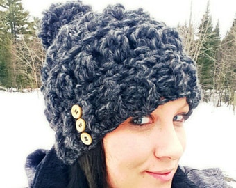 Beanie, Hat, Pom pom hat, Female Hat, Winter Hat, Crochet Hat, Womens Hat