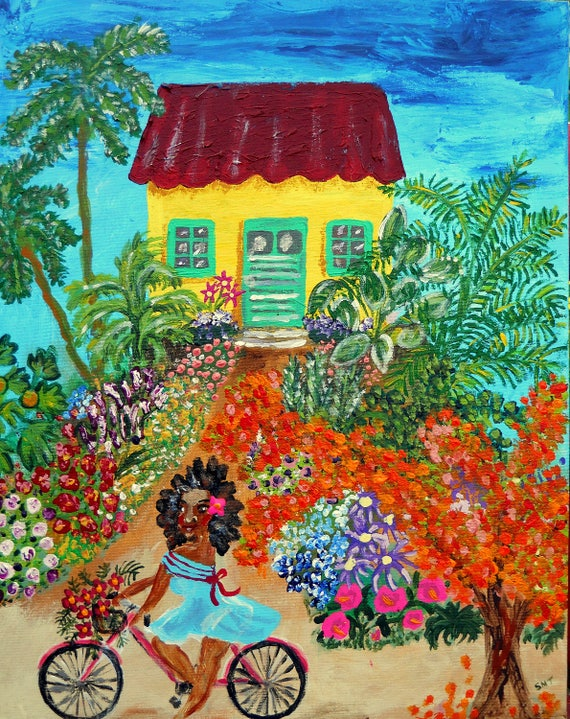 "Saturday Morning - Acrylic Caribbean Art Painting 16 x 20"" canvas panel, Ethnic Art; Outsider Folk Artist Stacey Torres"