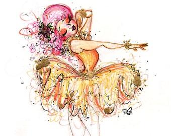 That's My Point- Fine Art Illustration Print- Ballet