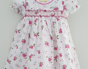Gorgeous Rose Floral Hand Smocked Dress - sizes  3-6 months and 6-9 months