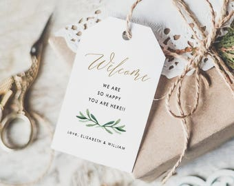 Wedding Welcome Tag • Welcome Tags • Welcome Bags Tag • Gift Tags • Calligraphy Welcome Tags • Word or Pages • MAC or PC