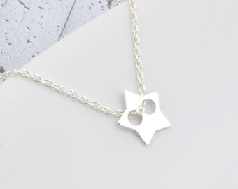 Sterling Silver Star Necklace, Star Charm Necklace, Tiny Star, Silver Star, Star Pendant, Little Star, moon