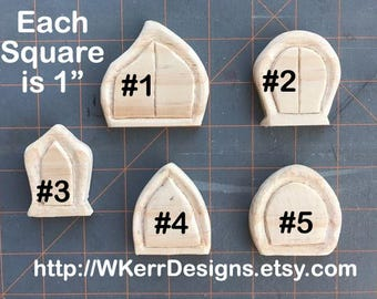 Unfinished Fairy House Door, Tiny Fairy House Door, Your Choice of Style and Shape