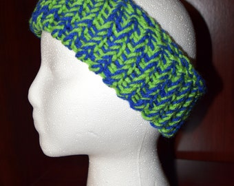 Woman's Hand Knit Green and Blue Ear Warmer