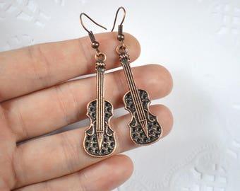 Little gift copper jewelry copper earrings violin jewelry sherlock earrings birthday gift women jewelry birthday gift for her music earrings
