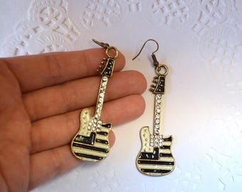 music jewellery Guitars jewelry music earrings for music lover gift for musician gift for girlfriend music gift  for her Black white Guitars