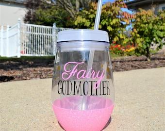 Fairy Godmother Wine Tumbler // Glitter Godmother Cup Gift for Godmother // Godmother Gift // Godmother Wine Glass // Fairy Godmother Gift