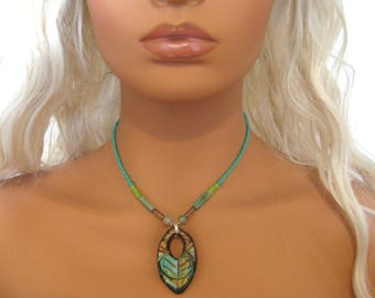 """Polymer Clay Teal - Seed Bead Necklace, Hippie/Boho/Rustic/Ancient/Abstract/Glazed/Chic. 15"""" 2""""extender"""