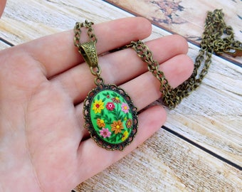 Polymer clay pendant, gift for her, polymer clay necklace