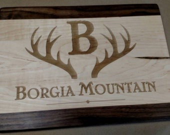 Cutting Board Maple Walnut Rustic wedding gift antlers