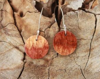 Wood Earrings - Handmade Australian Red Mallee Wood Sterling Silver Earrings