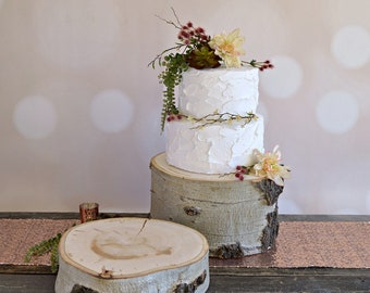 Large Rustic Log Cake Stand ~ Aspen Wood Cake Stand ~ Stump Cake Stand ~ Summer Wedding ~ Birch Cake Stand ~ Fall Wedding ~ Winter Wedding