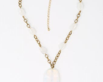 1980's Faux Sea Glass Iridescent Wavy Glass Pendant w Smaller Matching Lucite Beads Necklace Gold tone, Excellent VTG Cond., 17-1/4' Long