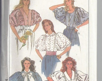 Simplicity Pattern 8496 from 1988:  Misses Blouse collection with elbow length sleeves.  Bust 34-38   UNCUT