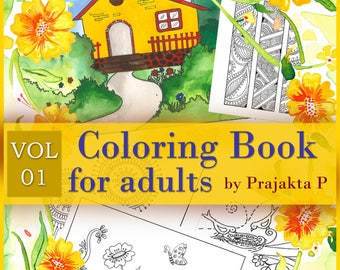 Coloring book for adults Vol 01, Printable adult coloring book, relaxation gifts, coloring pages for adults