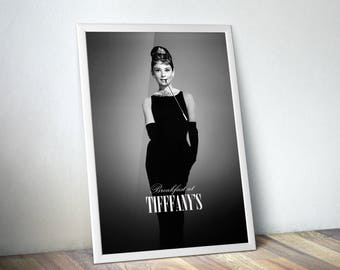 Audrey Hepburn Wall Art Print, Breakfast at Tiffanys Decor - Best Selling Items, Movie Poster, Most Sold Items, Dorm Prints, Gifts Under 10