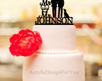Gay Wedding Cake Topper,Mr And Mr Wedding Cake Topper, His and His, Two Men Wedding, Custom Cake Topper, Gay Couple silhouette S002