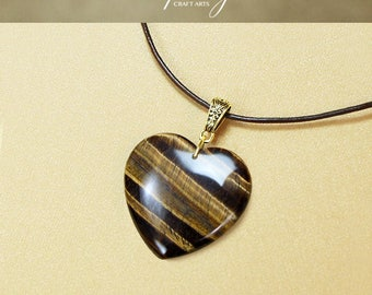 Tigers Eye pendant necklace, Tigers Eye sweater necklace, Heart shape pendant, Genuine Leather necklace,Protection pendant,InfinityCraftArts