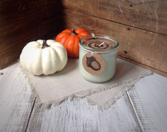 AUTUMN LEAVES scented soy candle, Fall scented soy candle, Festive, Harvest, Oak Street Candle Co., hand poured, recycled glass tumbler