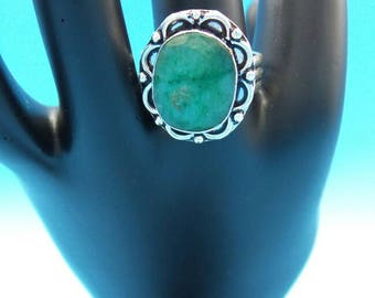 Natural Emerald Sterling Silver Ring, size 8.5