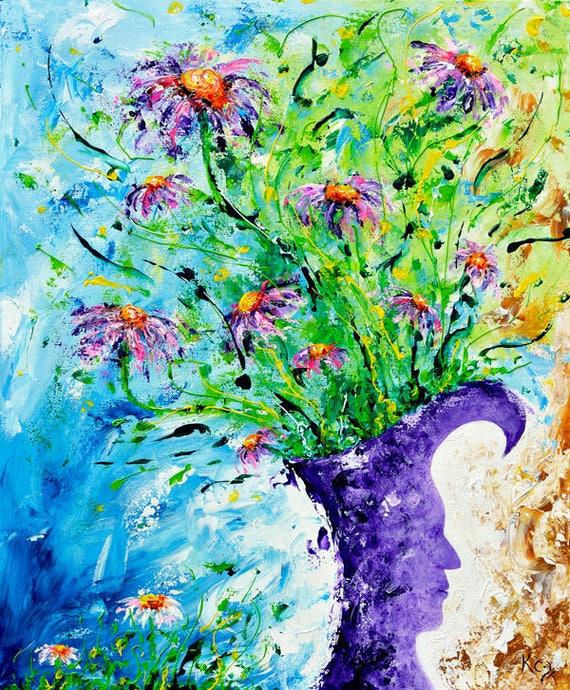 Modern Floral Wall Decor - Modern Landscape Decor, Visionary Art, Flower Print, Flowers, Abstract Flower Decor, Surreal Art, Art Print.