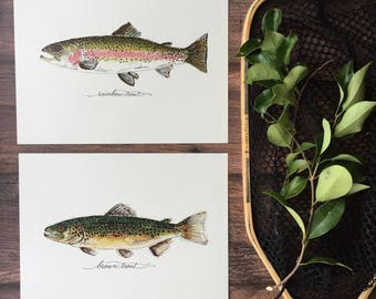 2 PRINTS, Rainbow Trout and Brown Trout, 2 fish prints, 8x10 or 11x14