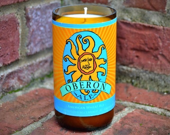 Bell's Oberon craft beer bottle candle made with soy wax