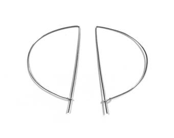 Minimalist Jewelry For Gift, Everyday Jewelry For Women, Simple Earrings Silver, Half Moon Earring, Minimal Jewelry Gift For Mothers Day