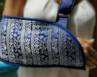 Navy and Silver Brocade Arm Sling