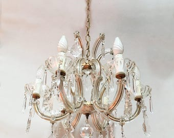 Italian Crystal and Glass Chandelier - Italian Vintage Pampilles Chandelier - 6 Arms Chandelier