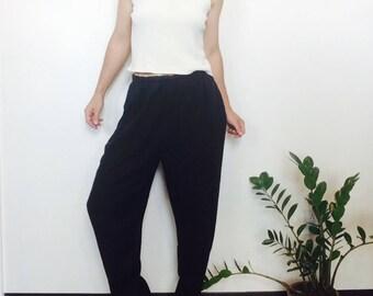 Vintage linen pants black linen pants size medium linen pants summer pants lounge pants lightweight linen pants long linen pant med linen