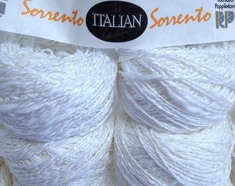 12 Sk Cotton Yarn Bundle Richard Poppleton Sorrento Yarn, The Italian Collection Cotton Blend White Yarn Shimmering Vintage Cotton Fiber Art