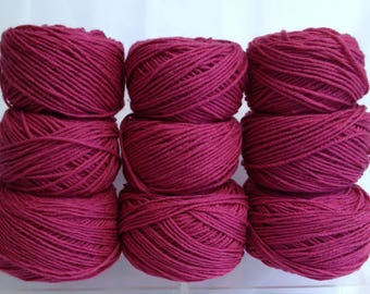 Bundle of Pink Magenta Yarn for Knitting and Crocheting - All Together as One Large Bundle of Yarn Cakes