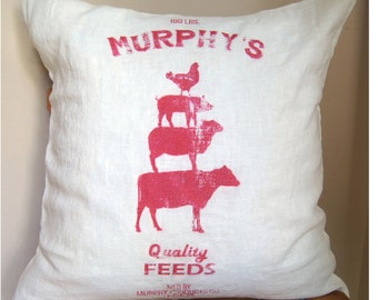 Feed Sack Pillow. Farmhouse Pillow Cover. Custom Pillow Cover. Fixer Upper Style. Now available in Red!