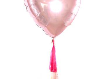 """36"""" Blush Pink Heart Balloon, Love Heart Balloon, Blush Pink Balloon, Rose Gold Party Blush Pink Wedding, Heart Balloon Prop, Valentines Day"""
