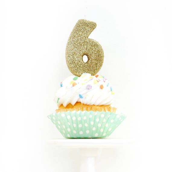 "3"" Number 6 Candle, Giant 6 Candle, Gold Candle, Gold Glitter Candle, Six Birthday Candle, Gold Birthday Candle, Pink Birthday Party"