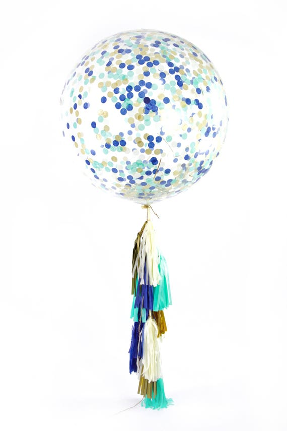 "36"" Coastal Cruiser Balloon, Giant Clear Balloon, Confetti Balloon, Tassel Balloon, First Birthday Baby Shower Wedding Ocean Decor Nautical"