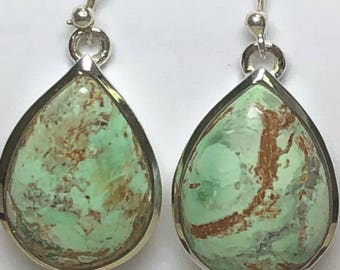 Variscite sterling silver earrings, FREE SHIPPING