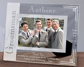 Wedding Party Glass Picture Frame, Engraved Wedding Party Picture Frame, Engraved Custom Groomsmen Gift